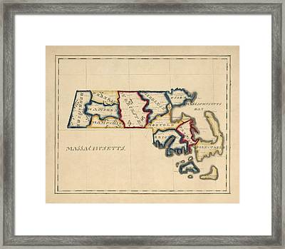 Antique Map Of Massachusetts By A. T. Perkins - Circa 1820 Framed Print by Blue Monocle