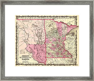 Antique Map Of Minnesota And The Dakota Territory 1862 Framed Print by Mountain Dreams
