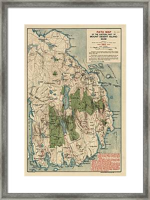 Antique Map Of Mount Desert Island - Acadia National Park - By Waldron Bates - 1911 Framed Print by Blue Monocle