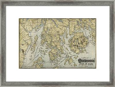 Antique Map Of Mount Desert Island And The Coast Of Maine - Circa 1900 Framed Print by Blue Monocle