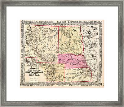 Antique Map Of Nebraska Dakota Colorado Idaho And Kansas 1863 Framed Print by Mountain Dreams