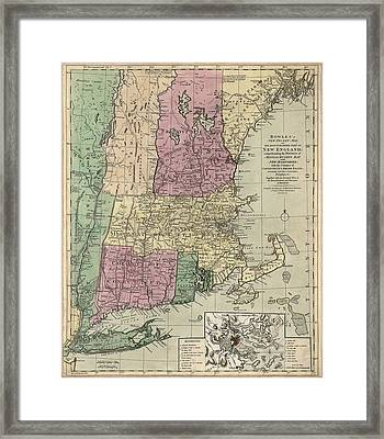 Antique Map Of New England By Carington Bowles - Circa 1780 Framed Print by Blue Monocle