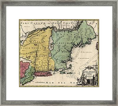 Antique Map Of New England By Johann Baptist Homann - Circa 1760 Framed Print by Blue Monocle