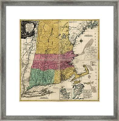 Antique Map Of New England By Johann Michael Probst - 1777 Framed Print by Blue Monocle