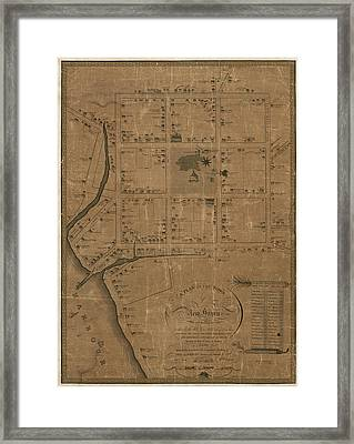 Antique Map Of New Haven By William Lyon - 1806 Framed Print by Blue Monocle