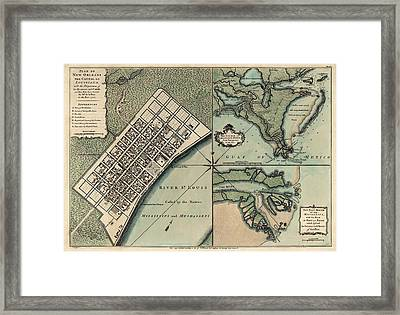 Antique Map Of New Orleans By Thomas Jefferys - 1759 Framed Print by Blue Monocle
