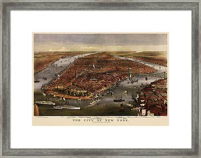 Antique Map Of New York City By Currier And Ives - 1870 Framed Print by Blue Monocle