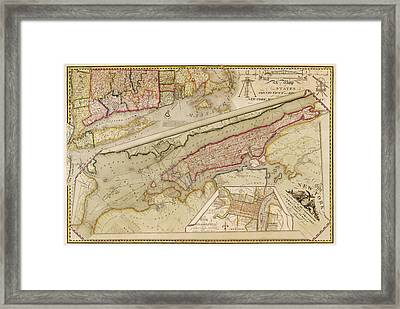 Antique Map Of New York City By John Randel - 1821 Framed Print by Blue Monocle