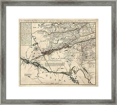 Antique Map Of New York State And Vermont By Covens Et Mortier - 1780 Framed Print by Blue Monocle