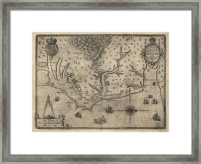 Antique Map Of North Carolina And Virginia By John White - 1590 Framed Print by Blue Monocle