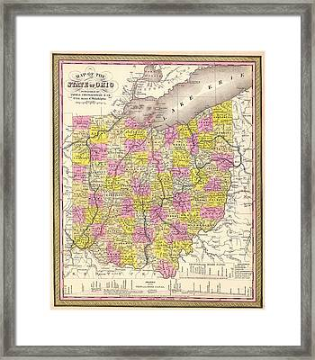 Antique Map Of Ohio 1850 Framed Print by Mountain Dreams
