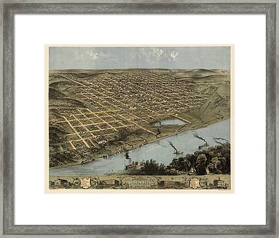 Antique Map Of Omaha Nebraska By A. Ruger - 1868 Framed Print by Blue Monocle