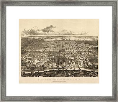 Antique Map Of Philadelphia By John Bachmann - 1857 Framed Print by Blue Monocle