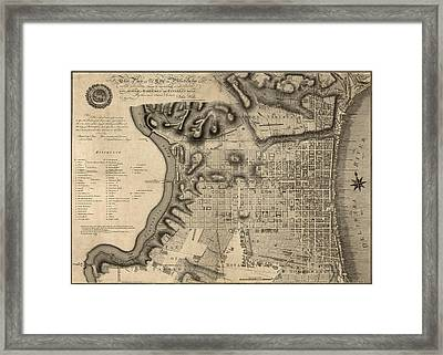Antique Map Of Philadelphia By John Hills - 1797 Framed Print by Blue Monocle