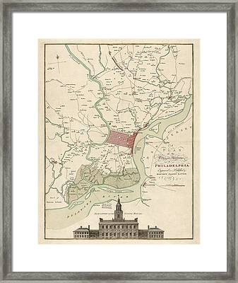 Antique Map Of Philadelphia By Matthaus Albrecht Lotter - 1777 Framed Print by Blue Monocle