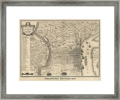 Antique Map Of Philadelphia By P. C. Varte - 1875 Framed Print by Blue Monocle