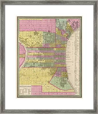 Antique Map Of Philadelphia By Samuel Augustus Mitchell - 1849 Framed Print by Blue Monocle