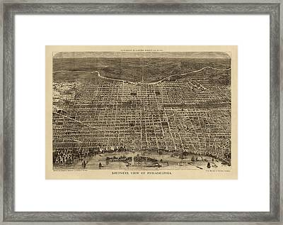 Antique Map Of Philadelphia By Theodore R. Davis - 1872 Framed Print by Blue Monocle