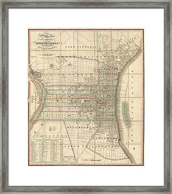 Antique Map Of Philadelphia By William Allen - 1830 Framed Print by Blue Monocle