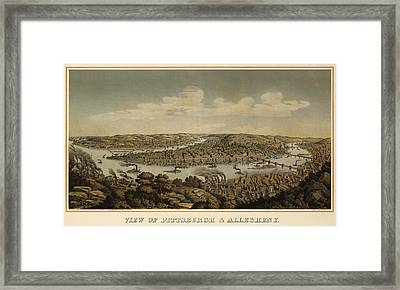 Antique Map Of Pittsburgh Pennsylvania By Otto Krebs - 1874 Framed Print by Blue Monocle