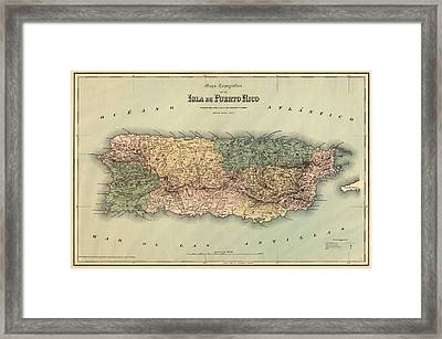 Antique Map Of Puerto Rico - 1886 Framed Print by Blue Monocle