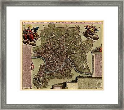 Antique Map Of Rome By Jacob De La Feuille - Circa 1710 Framed Print by Blue Monocle