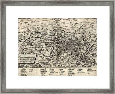 Antique Map Of Rome Italy By Sebastianus Clodiensis - 1561 Framed Print by Blue Monocle