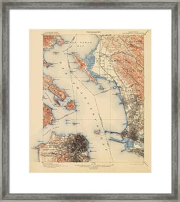 Antique Map Of San Francisco And The Bay Area - Usgs Topographic Map - 1899 Framed Print by Blue Monocle