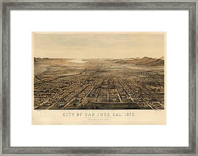 Antique Map Of San Jose California By Charles B. Gifford - 1875 Framed Print by Blue Monocle