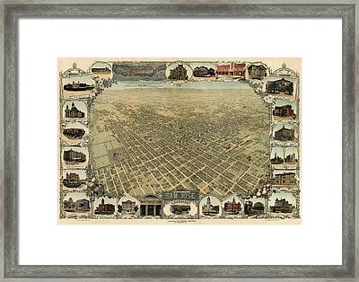 Antique Map Of San Jose California - Circa 1901 Framed Print by Blue Monocle