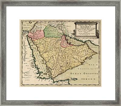 Antique Map Of Saudi Arabia And The Arabian Peninsula By Nicolas Sanson - 1654 Framed Print by Blue Monocle