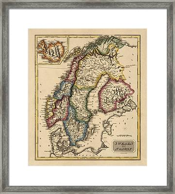 Antique Map Of Scandinavia By Fielding Lucas - Circa 1817 Framed Print by Blue Monocle