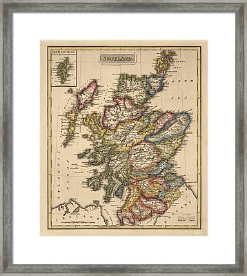 Antique Map Of Scotland By Fielding Lucas - Circa 1817 Framed Print by Blue Monocle