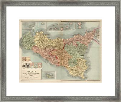 Antique Map Of Sicily Italy By Antonio Vallardi - 1900 Framed Print by Blue Monocle
