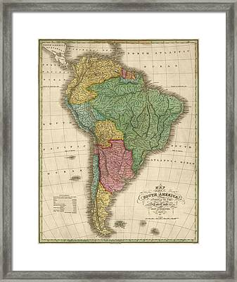 Antique Map Of South America By Anthony Finley - 1826 Framed Print by Blue Monocle