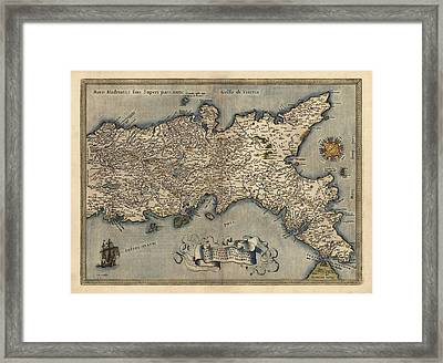 Antique Map Of Southern Italy By Abraham Ortelius - 1570 Framed Print by Blue Monocle