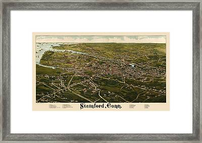 Antique Map Of Stamford Connecticut By L. R. Burleigh - 1883 Framed Print by Blue Monocle