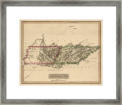 Antique Map Of Tennessee By Fielding Lucas - Circa 1817 Framed Print by Blue Monocle