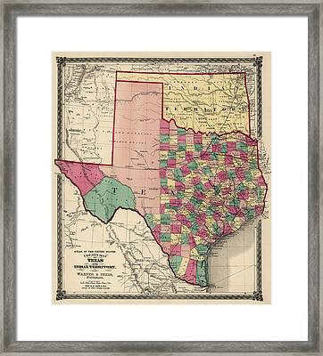 Antique Map Of Texas And Oklahoma By H. H. Lloyd And Co. - 1875 Framed Print by Blue Monocle