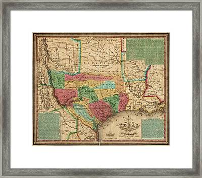 Antique Map Of Texas By James Hamilton Young - 1835 Framed Print by Blue Monocle