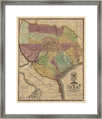 Antique Map Of Texas By Stephen F. Austin - 1837 Framed Print by Blue Monocle