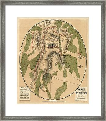 Antique Map Of The Battle Of Gettysburg By T. Ditterline - 1863 Framed Print by Blue Monocle