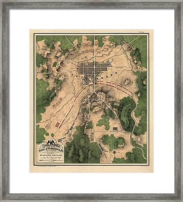 Antique Map Of The Battle Of Gettysburg By William H. Willcox - 1863 Framed Print by Blue Monocle