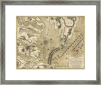 Antique Map Of The Battle Of Yorktown Virginia By Esnauts Et Rapilly - Circa 1781 Framed Print by Blue Monocle