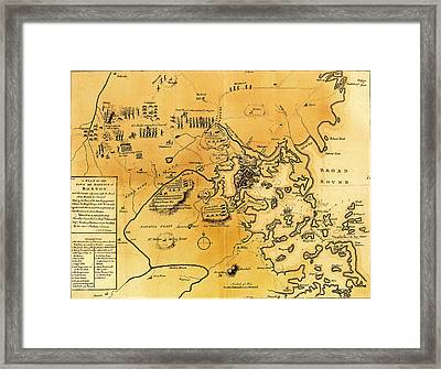 Antique Map Of The Battles Of Lexington And Concord 1775 Framed Print by Mountain Dreams
