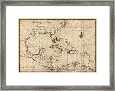 Antique Map Of The Caribbean And Central America By Joan Vinckeboons - Circa 1639 Framed Print by Blue Monocle