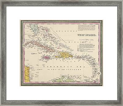 Antique Map Of The Caribbean By Samuel Augustus Mitchell - 1849 Framed Print by Blue Monocle