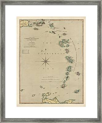 Antique Map Of The Caribbean - Lesser Antilles - By Mathew Richmond - 1789 Framed Print by Blue Monocle