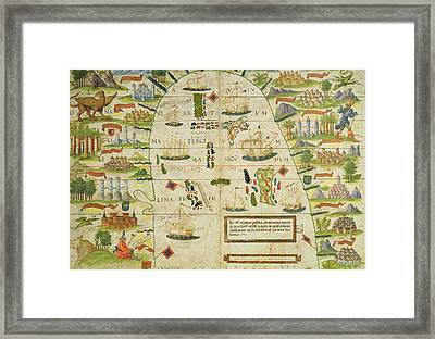 Antique Map Of The China Sea Framed Print by Pedro Reinel