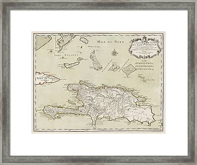 Antique Map Of The Dominican Republic And Haiti By Jacques Nicolas Bellin - 1745 Framed Print by Blue Monocle
